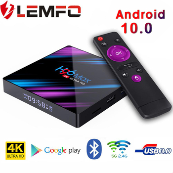 LEMFO h96 max plus smart tv box Rockchip RK3318 4GB64GB USB3.0 support HDMI2.0 RKMC 4K YouTube smart tv box Android 10