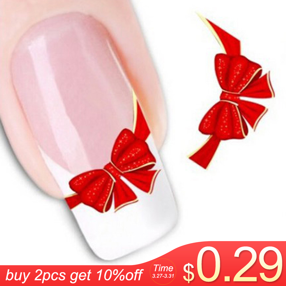 1sheets DIY Designs Women Elegant Nail Art Stickers Decals Red Butterfly Tie Decals Patch French Tip Care Styling Tool LASTZ-034