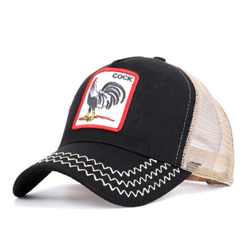 100% Cotton Baseball Cap Summer Breathable Unisex Net Hats Snapback Hats Hip Hop Rooster Embroidery Baseball Cap Sunhat F25