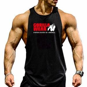 Gorilla wear moda bawełna bez rękawów bez rękawów mężczyźni Fitness koszulka uwydatniająca mięśnie męskie podkoszulek kulturystyka trening koszulka na siłownię Fitness mężczyzn