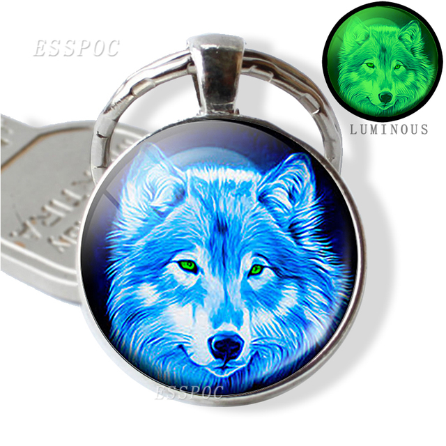 Glow In The Dark Wolf Key Chain Key Rings Holder Luminous Wolf Head Keychain Men Jewelry Gift 1