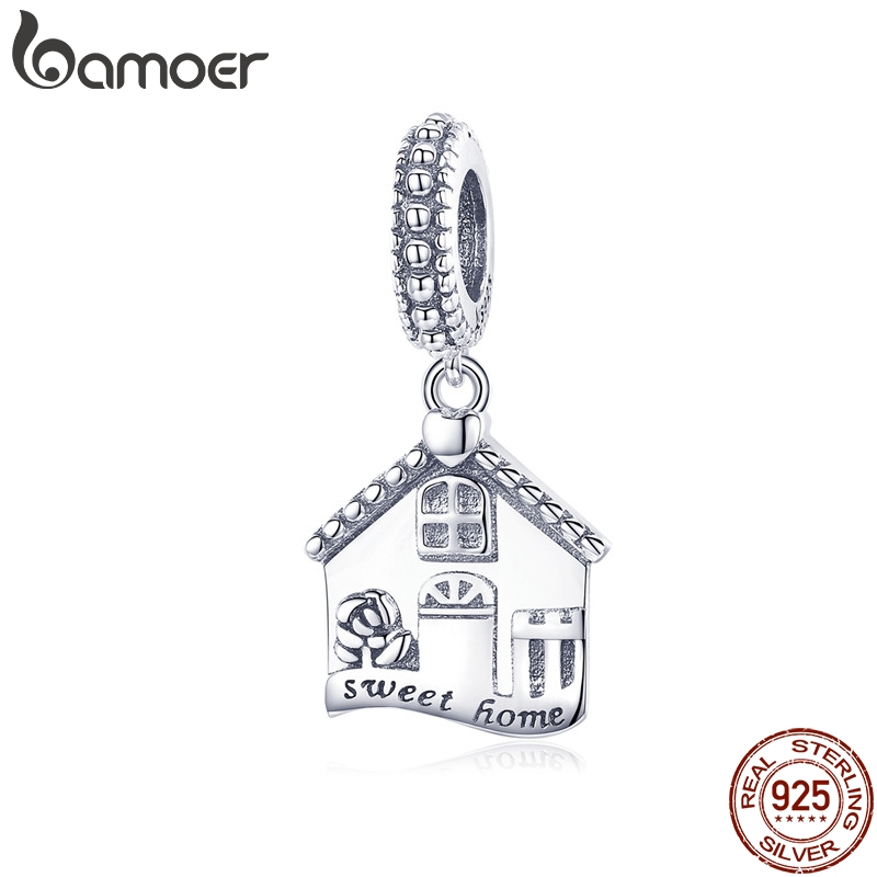 BAMOER Authentic 100% 925 Sterling Silver Sweet Home Pendant House Shape Charms fit for Women Bracelets DIY Jewelry Gift SCC913(China)