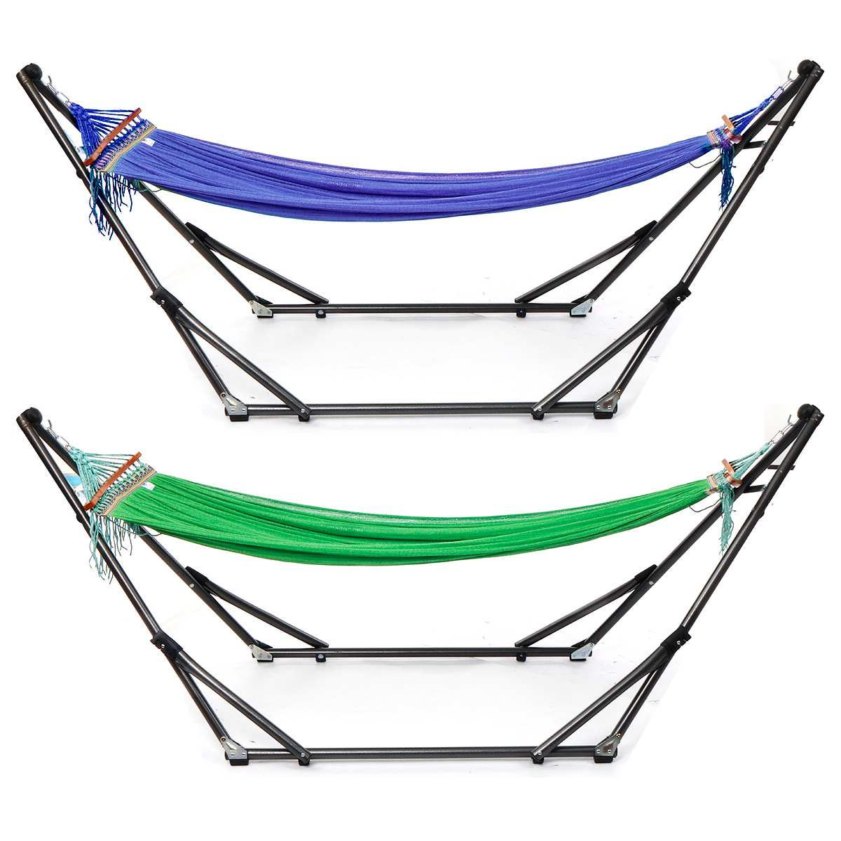 Folding Hammock Stand Bag Set 250KG Portable Steel Pipe Sleeping Swing Garden Outdoor Furniture Hunting Camping Accessories Kit - 3