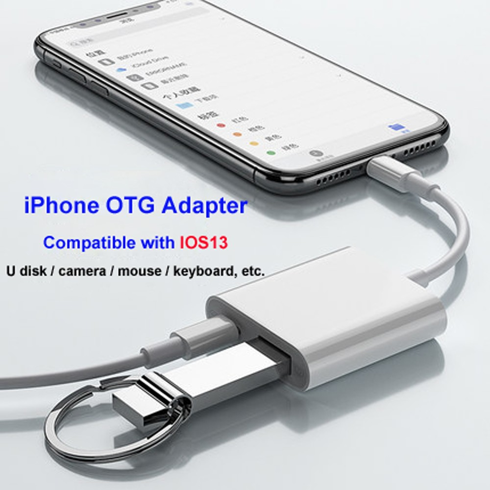 Lighting To USB OTG Adapter For Apple IOS 13 IPhone 11 XR X XS Max 8 7 6 /iPad Tablet Phone Holder Support Keyboard Mouse U Disk
