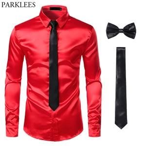 Image 5 - Ensemble avec une chemise, nœud papillon et cravate en satin pour homme, 3 pièces, coupe cintrée idéale pour une soirée de bal, peut également se porter décontracté