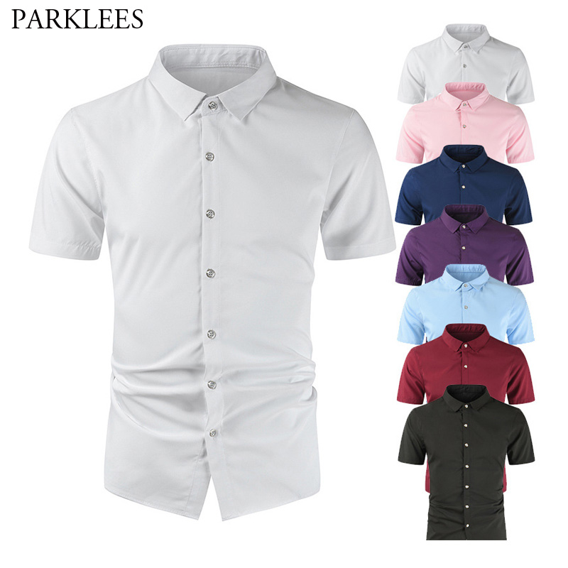 White Silk Shirt For Men Solid Slim Fit Mens Shirts Smooth Comfortable Men Dress Shirt Casual Business Men Short Sleeve 7 Colors