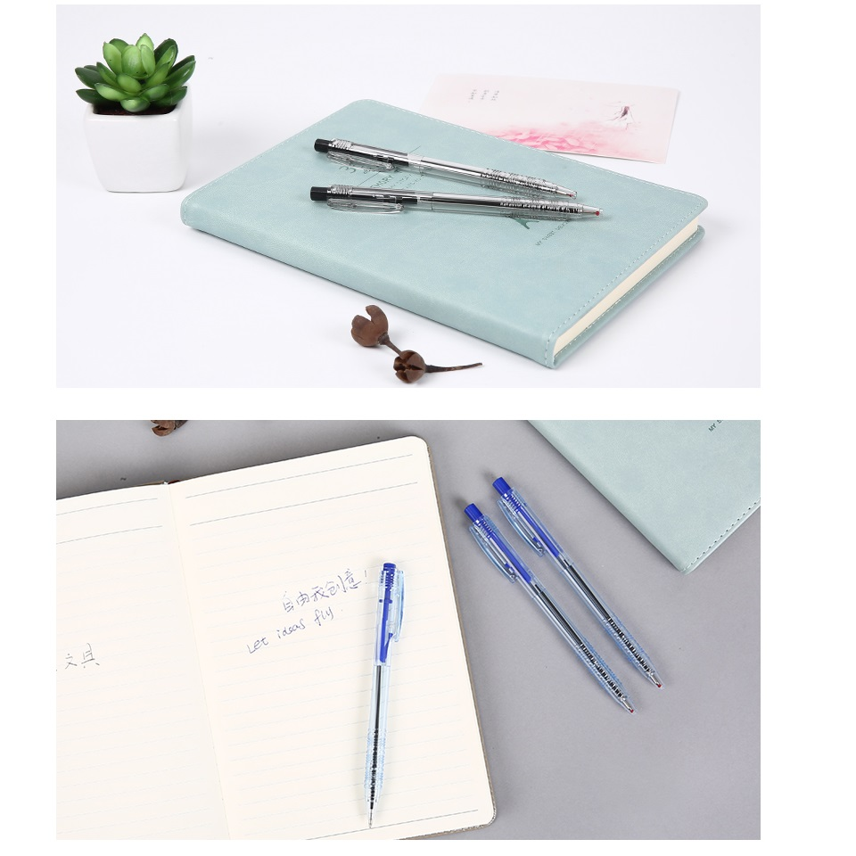 Купить с кэшбэком 6pcs Click ballpoint pen 0.7mm roller ball Transparent Black Blue Red color pens writing signature Office School F510