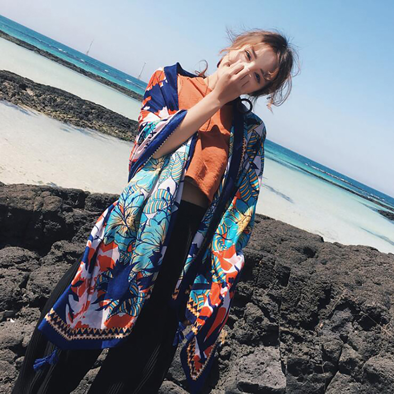 Women Cotton Scaves Female Luxury Brand Print Paisley Foulard Shawls And Scaves Beach Cover-Ups