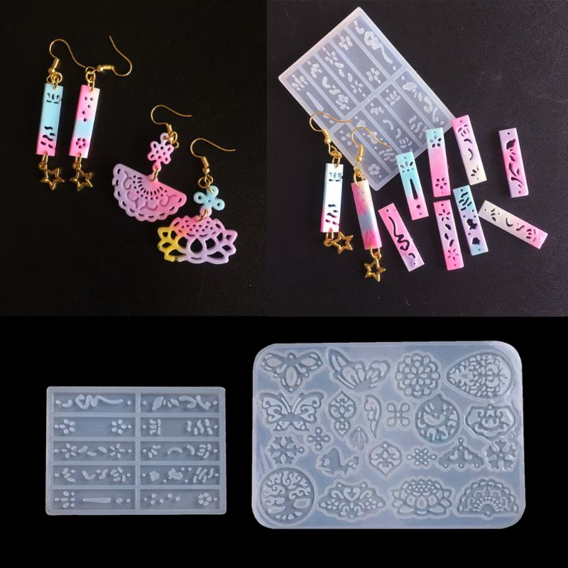 2Pcs Ancient Earrings Hairpin Necklace Pendant Resin Mold Jewelry Making Tools