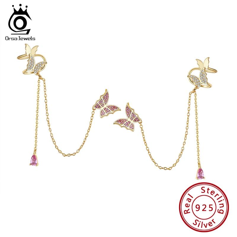 Silver Butterfly Earrings 14K Gold Plated
