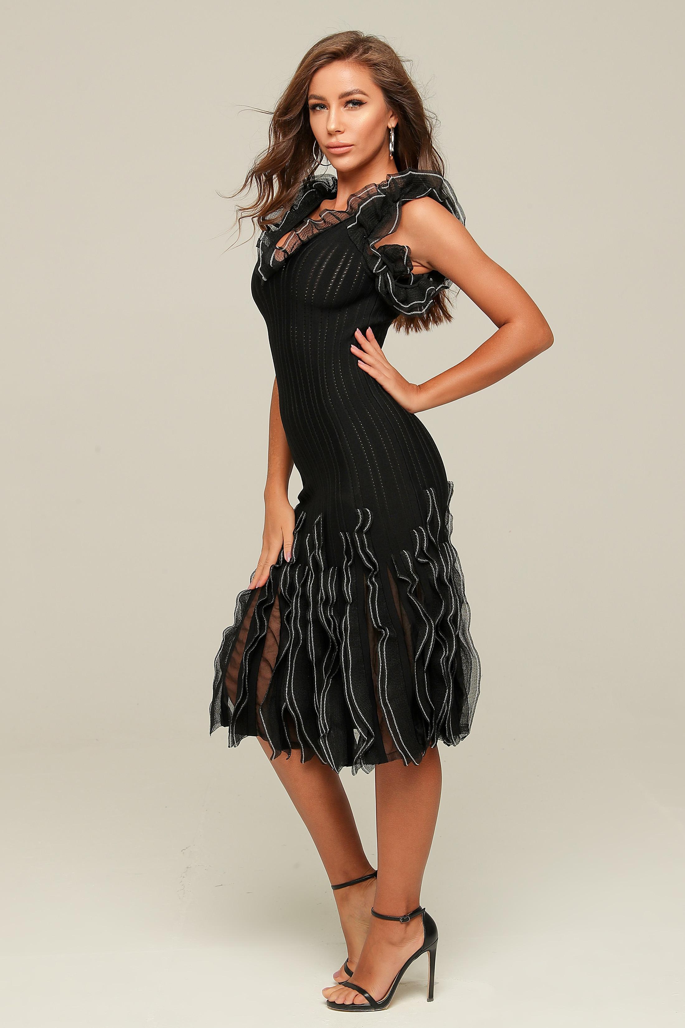 Сексуальное платье на Рождество, праздник, черное элегантное модное платье на свадьбу, банкет, вечерние платья знаменитостей - 5