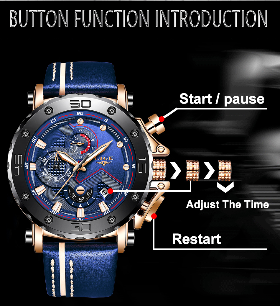 H65c6c322de084c91a67d9a5e715f75e9V New LIGE Mens Watches Top Brand Luxury Big Dial Military Quartz Watch Casual Leather Waterproof Sport Chronograph Watch Men