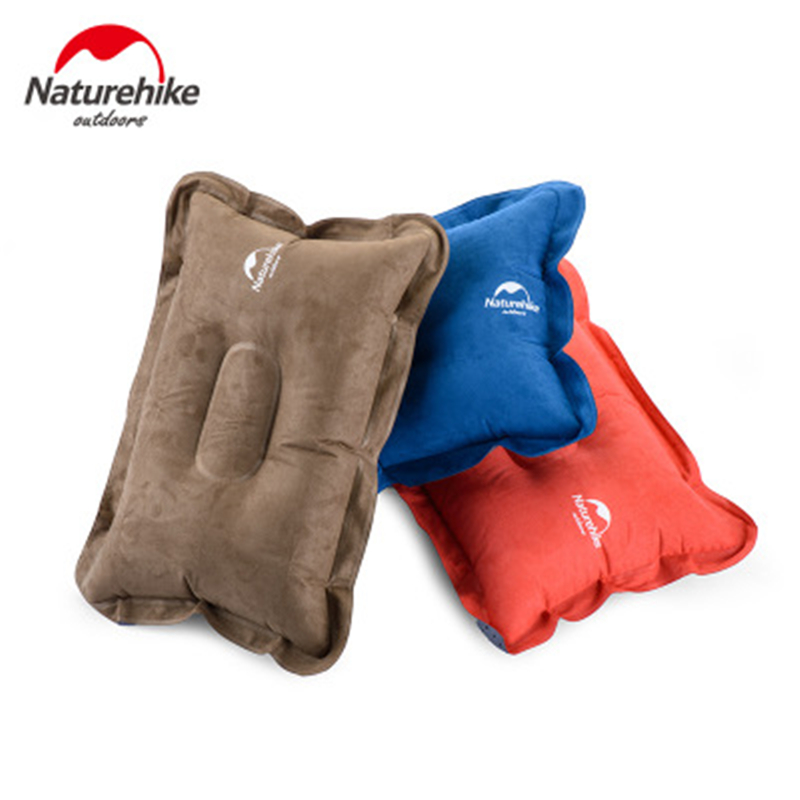 Naturehike Inflatable Air Pillow Suede Camping Pillow Portable Travel Outdoor Hiking Car Trips Backpacking Headrest Lounge Break