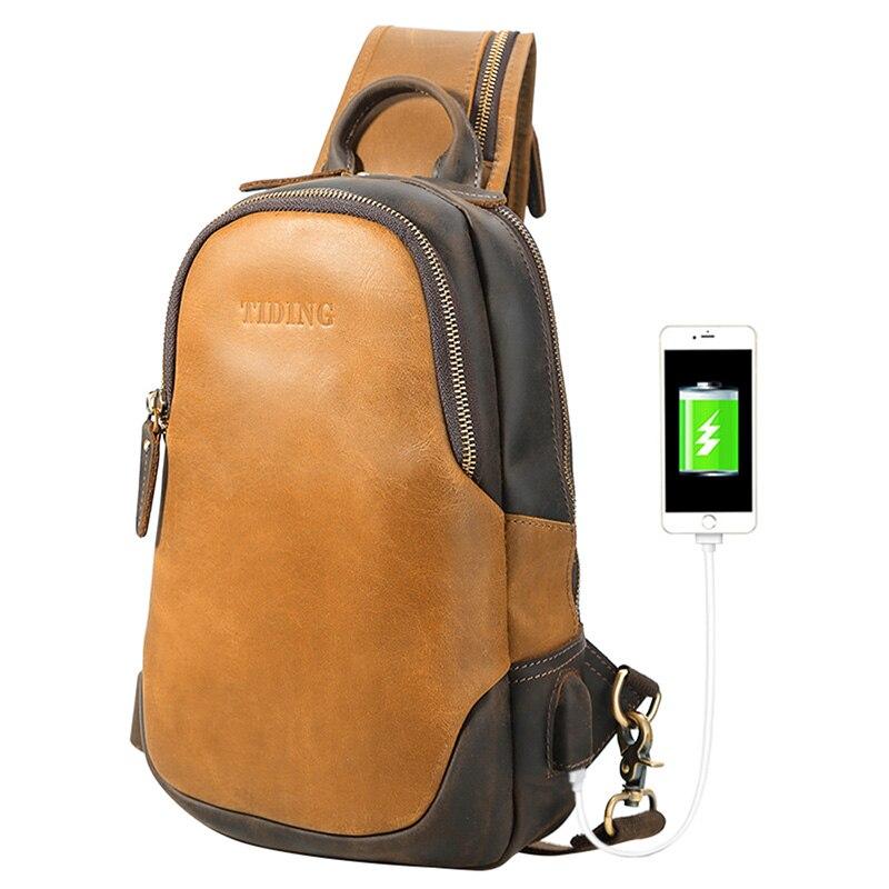 Tiding Leather Sling Bag for Men Vintage Crossbody Shoulder Backpack Chest Pack Bag Casual Daypack with USB Charging Port - Brow