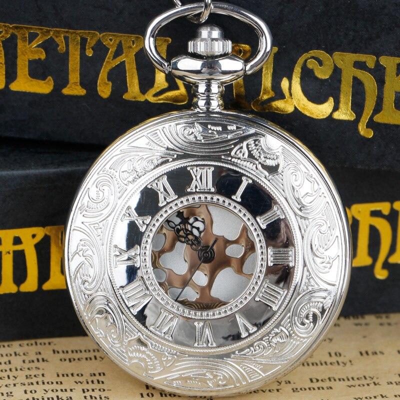 Içi boş durumda romen rakamları cep saati erkekler kadınlar Steampunk Fob cep saati es kolye kolye hediye cep saati