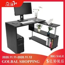 Bureau dordinateur de coin en forme de L rotatif de 360 degrés avec des étagères de livre meubles commerciaux de bureau à la maison