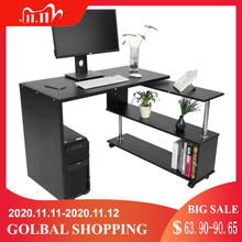 Mesa de oficina para ordenador giratoria con forma de L, 360 grados, con estantes para libros, escritorio para el hogar, muebles comerciales