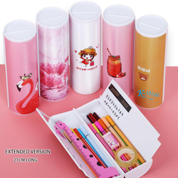 Versão estendida escola lápis caso escritório multifuncional cilíndrico meninas lápis caso, suporte para personalizado