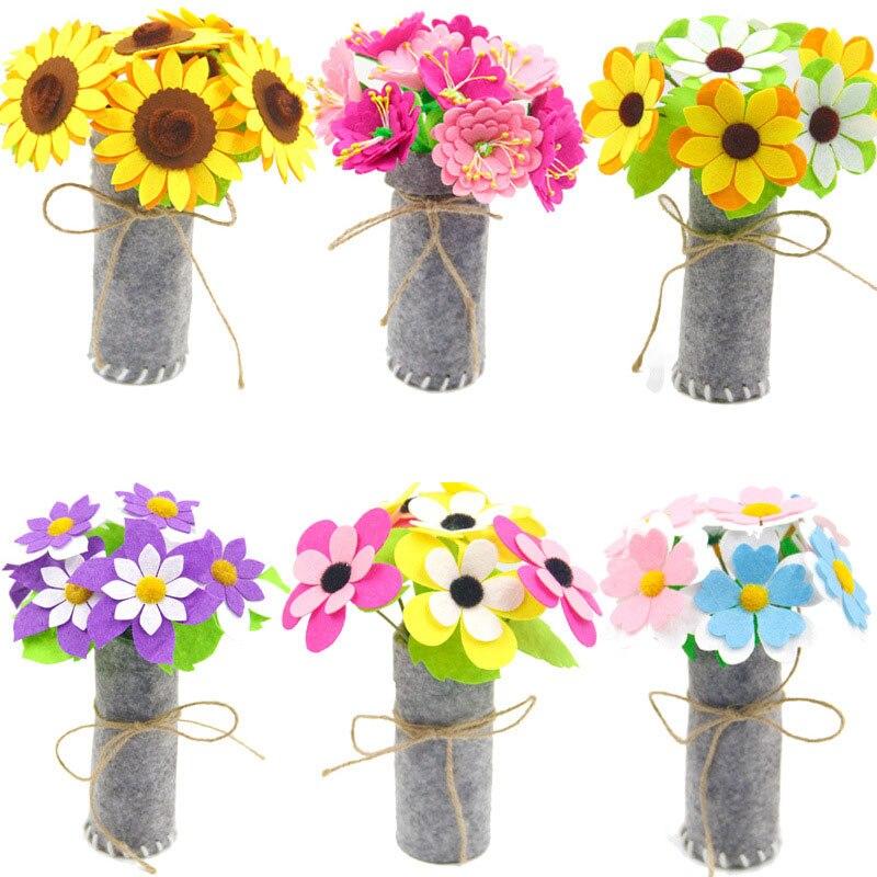 1Piece Children DIY Flower Pot Potted Art Crafts Toys Learning Kindergarten Teaching Aids Handmade Plant Toy For Girls Kids
