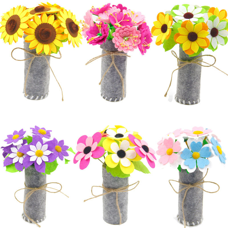 3 PCS Children DIY Flower Pot Potted Art Crafts Toys Learning Kindergarten Teaching Aids Simulation Flowers Toy For Girls Kids