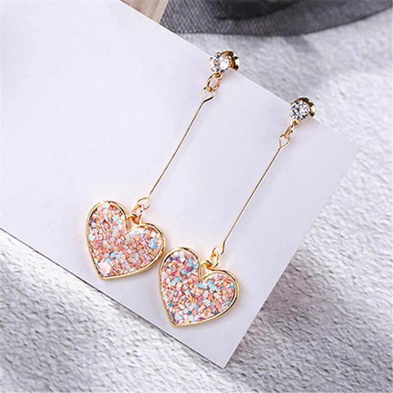 Korea małe świeże różowe cekiny miłosne kolczyki dla kobiet słodkie kryształowe serce długie kolczyki damska biżuteria Oorbellen Pendientes Boho