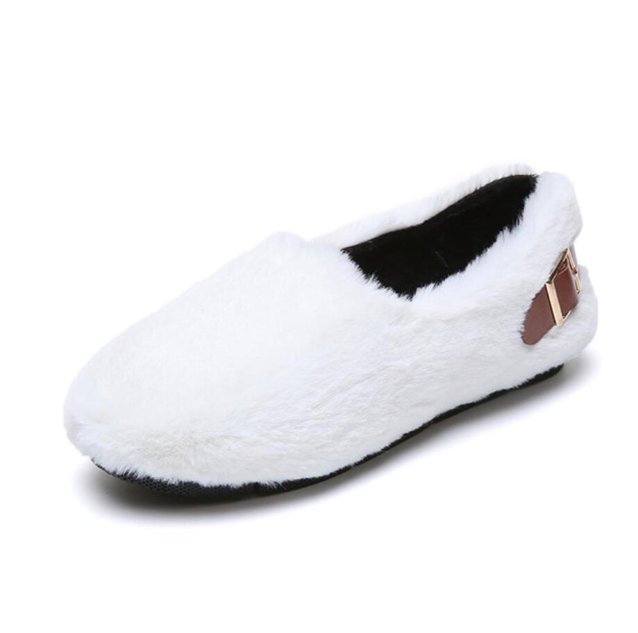 long fur flats women slip on winter shoes with plush flat heel moccasins ladies Belt buckle fur mules designer furry loafers 46