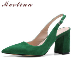 Meotina/женские туфли-лодочки на высоком каблуке Детские замшевые босоножки на высоком квадратном каблуке обувь из натуральной кожи с пряжкой ...