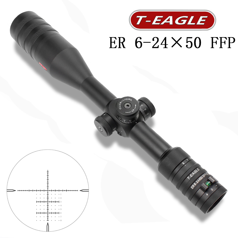 TEAGLE ER 6-24x50 FFP Compact Riflescope Hunting Optical Sight Sniper Tactical Airgun Rifle Scope Fit .308win For PCP