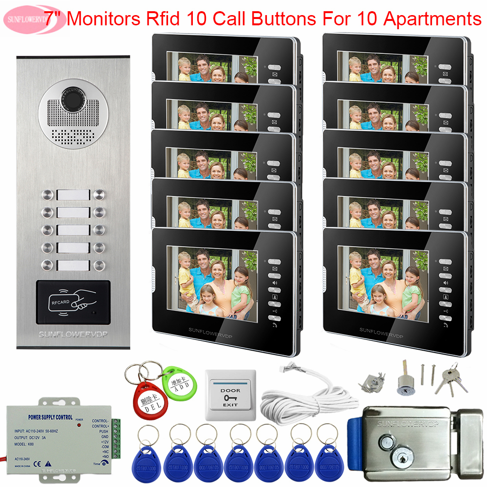 For 10 Apartments 7 Inchs Intercom For A Private House Access Control Home Bell Video Doorphone Monitors + Electronic Door Lock