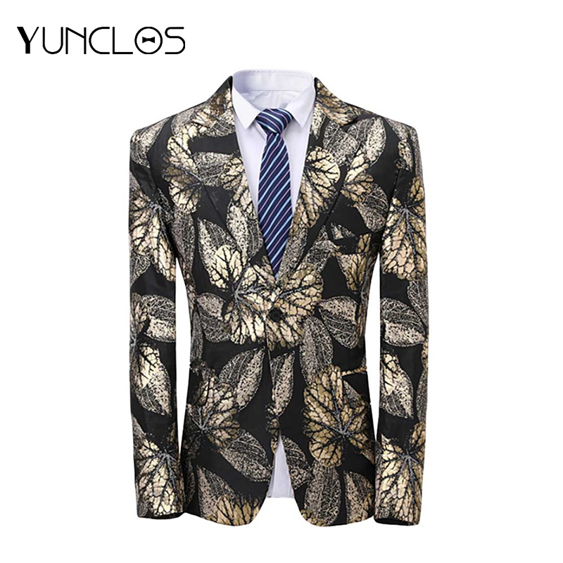 YUNCLOS Black Golden Leaf Men Suit Jacket Wedding Suits For Men Party Jackets Men Veste Homme Costume One Buckle Fashion XS-3XL