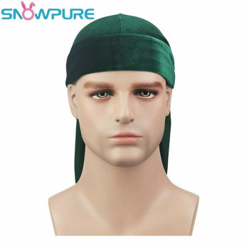 Fashion Men's Satin Durags Bandanna Turban Wigs Pirate Hat Men Silky Durag Headwear Headband 6