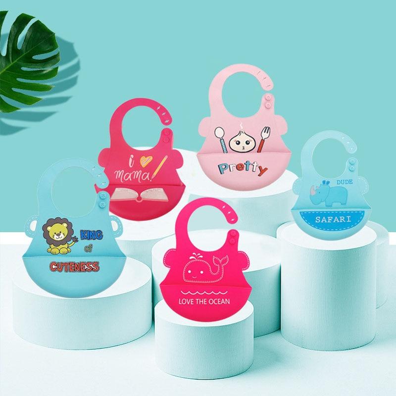 Nouveauté doux Silicone bébé bavoirs réglable coloré dessin animé bébé étanche salive gouttes bavoirs infantile nouveau-né bavoirs d'alimentation