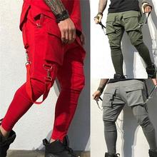 2020 mężczyźni nowa wiosna spodnie w stylu Hip Hop klub kostium sceniczny piosenkarki spodnie wstążki Streetwear spodnie dresowe do biegania tanie tanio Cargo pants CN (pochodzenie) Mieszkanie COTTON Poliester PATTERN REGULAR Male Pants Na co dzień Midweight Pełnej długości