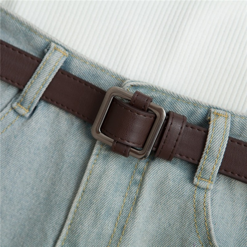 Belts For Men Boy Women Girl Lady Simple Versatile Fashion Black Tide Decoration Wide Belt With Jeans Student Thin Waistband