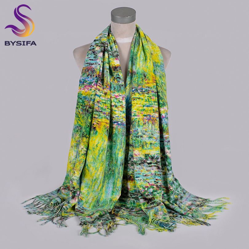 [BYSIFA] 2019 New Winter Women Cashmere   Scarves     Wraps   Luxury Brand Thick Warm Green Pashmina   Scarf   Ladies   Scarf   Shawl 200*70cm