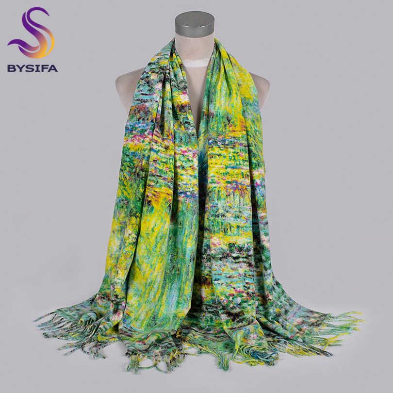 [BYSIFA] 2019 nuevos bufandas de cachemir de invierno para mujer, bufandas de lujo de marca gruesa y cálida bufanda verde Pashmina chal para mujer 200*70cm