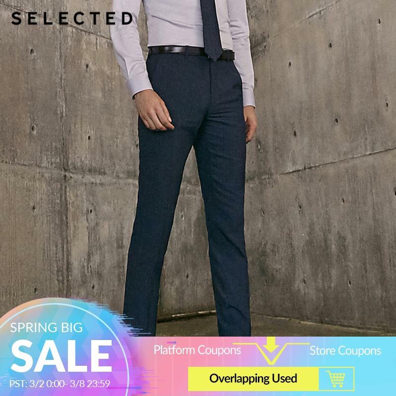 SELECTED Men's Slim Fit Dark Stripe Pattern Suit Pants T|41916A503
