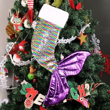 Christmas Sequins Stockings Gift Bag Sparkly Tail Presents Stocking Xmas Sequin Magic Stock Candy Bag Xmas Decoration For Home N(China)
