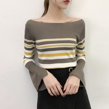Women Fashion Casual Striped Sweater Long Sleeve O Neck Knitting Top Bottoming Pullovers