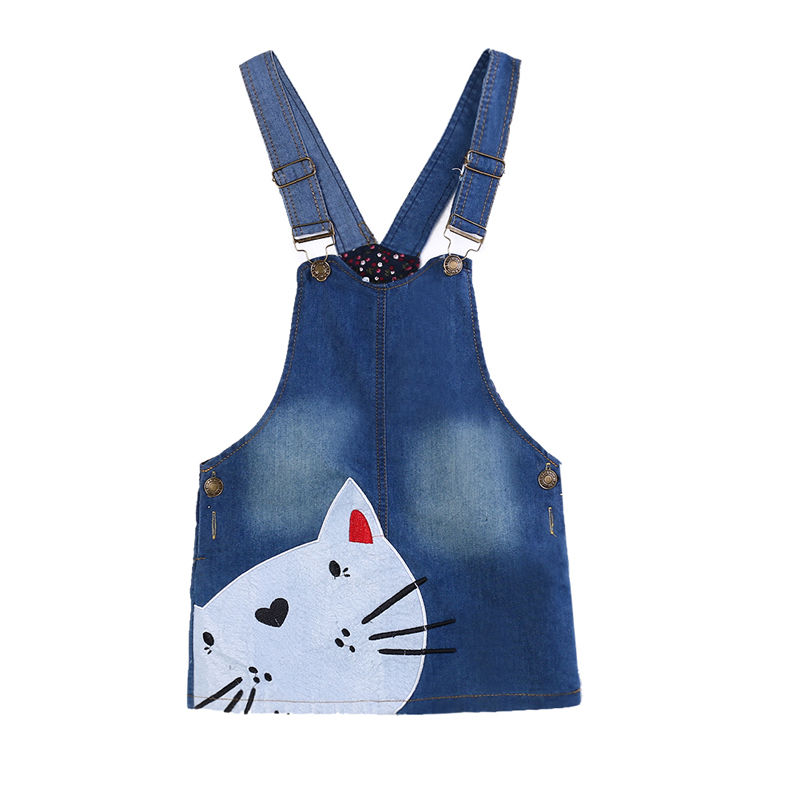 Summer Kids Girls Dress Denim Overalls Dresses Braces Clothes For Age 2-7 Years Kids 1