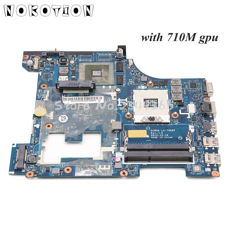 NOKOTION For Lenovo G580 Laptop Motherboard QIWG6 LA-7988P Main Board HM76 DDR3 HD4000 710M Video Card
