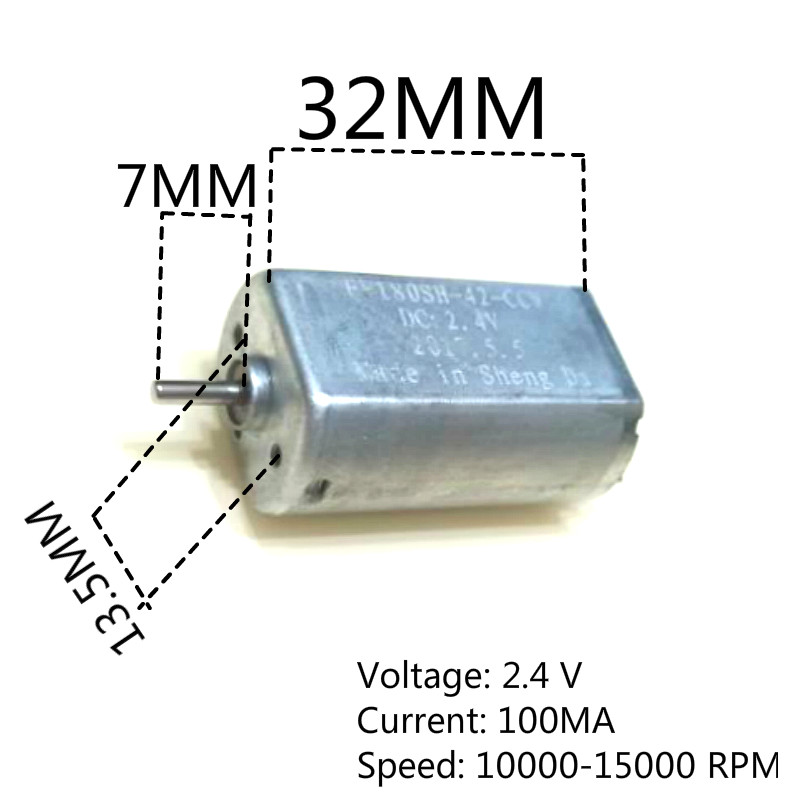 Free shipping A2 FF-180SH standard high speed <font><b>motor</b></font> 2.4V 10000 rpm 180 low voltage <font><b>motor</b></font> Electric razor special <font><b>motor</b></font> image