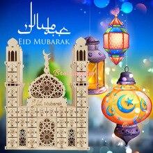 Décoration de fête musulmane islamique pour la maison, avec Tracker EID Mubarak, calendrier compte à rebours en bois Maulid al nabi