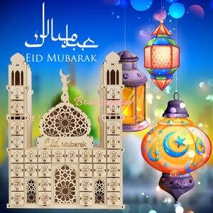 Image 1 - Décoration de fête musulmane islamique pour la maison, avec Tracker EID Mubarak, calendrier compte à rebours en bois Maulid al nabi