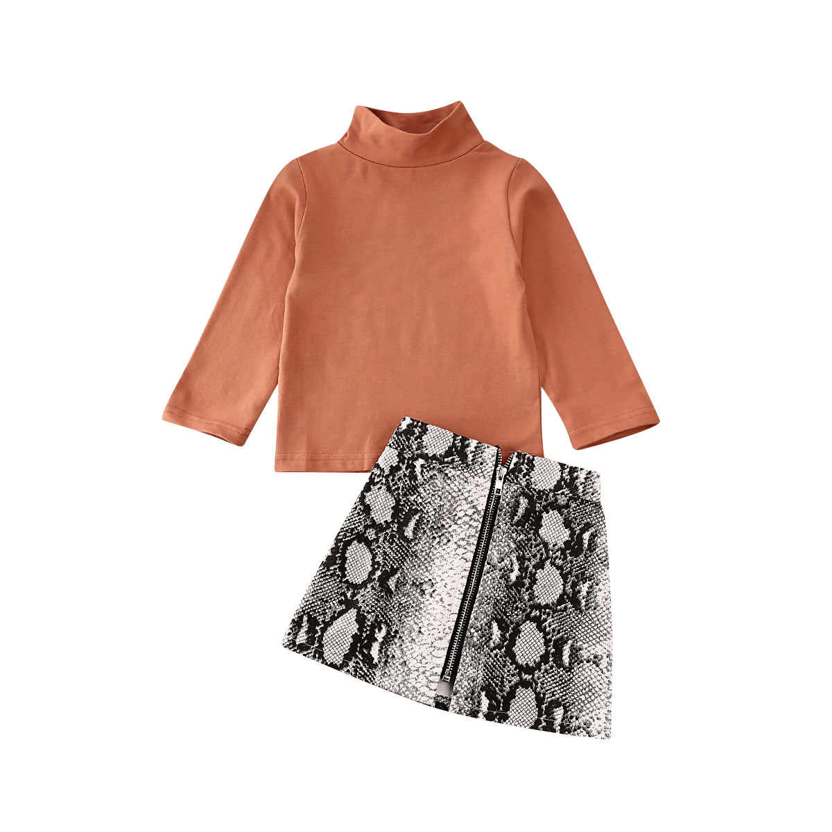 Autumn Toddler Kid Baby Girl Clothes Set 2pcs Turtleneck Solid Long Sleeve Top+Snake Print A-Line Skirt Outfit