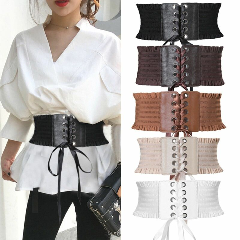 Vintage Women Ladies Wide Bow Belt PU Leather Dress Lace Up Eyelet Cotton Corset Elastic Cinch Waistband Slim Belt Waistband