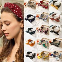 Bow Knot Women Hair Accessories Rabbit Ears Knotted Wide Headband Jewelry Casual Girl Print Hairband Female Hair Ornament(China)