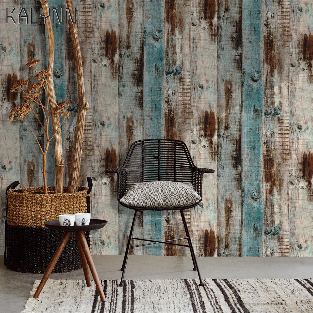 Vintage Wood Self Adhesive Paper Removable Peel Stick Wallpaper Blue Wood Panel Interior Film Leave No