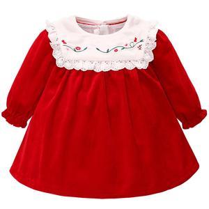 Женское кружевное платье с вышивкой Famuka, красное бархатное платье принцессы для девочек на 1 год и весну-осень, вечерние платья для свадьбы