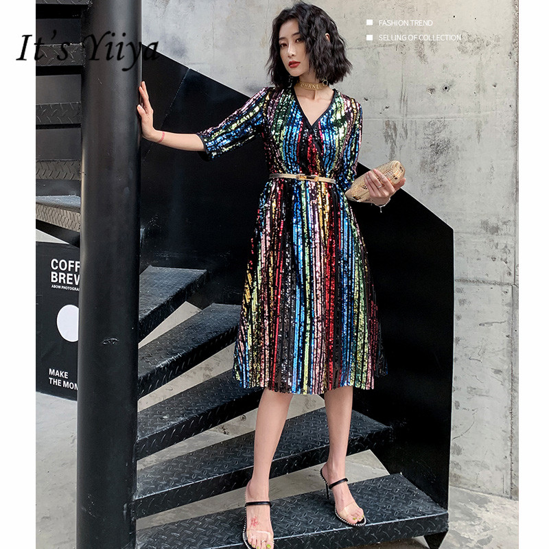 It's YiiYa Cocktail Dress 2019 Elegant V-Neck Ball Gown For Plus Size Women Half Knee-Length Sequin Robe Cocktail Gowns E808